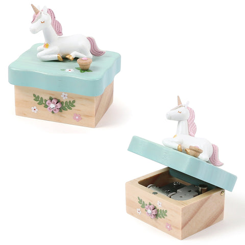 Wooderful Life - Sitting Unicorn Mini Music Box - August Lane