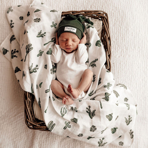 Snuggle Hunny Kids - Organic Muslin Wrap - Cactus - August Lane