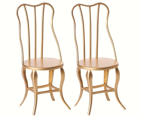 Maileg - Vintage Chairs Micro Gold 2 pieces - August Lane