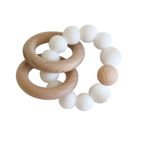Alimrose - Beechwood Teether Rings Set - Milk - August Lane