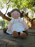 Cecilia Doll with White Linen Dress - August Lane