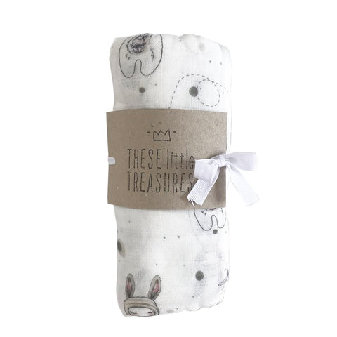 These Little Treasures - Organic Baby Muslin Swaddle - Bunny