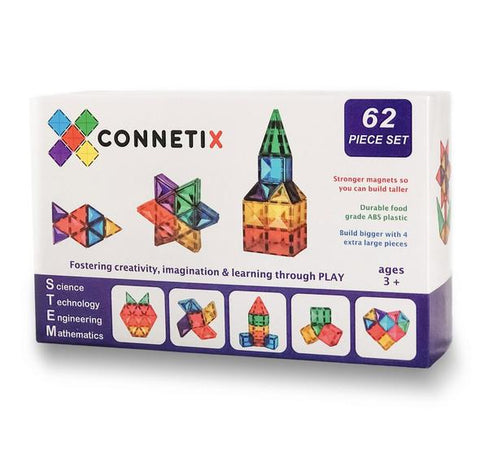 Connetix - 62 Piece Set Magnetic Tiles - August Lane