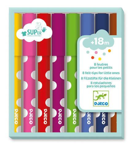 Djeco - 8 Little Ones Felt Tip Markers - August Lane
