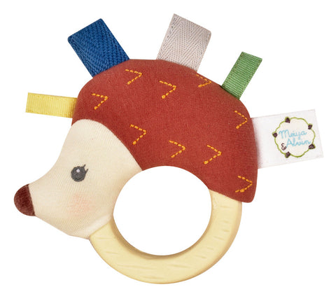 Tikiri - Ethan the Hedgehog Fabric Rattle with Rubber Teether - August Lane