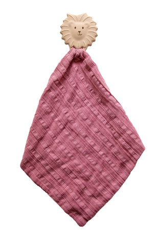 Tikiri - Lion Rubber Teether with a Dusty Pink Muslin Comforter - August Lane