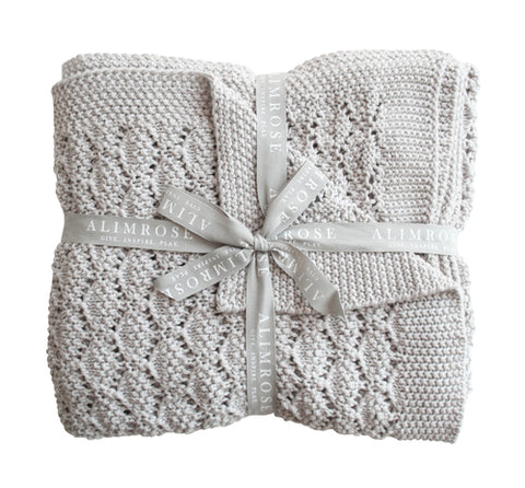 Alimrose - Organic Heritage Knit Baby Blanket - Cloud - August Lane