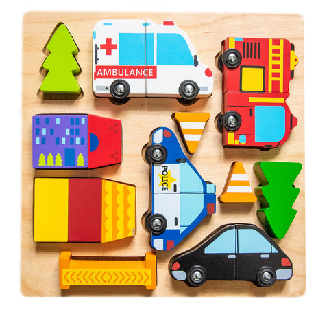 Kiddie Connect - Vehicle Puzzle With Magnets - August Lane