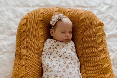 Lunas Treasures - Bamboo Jersey Swaddle Wrap & Bow Set - Desert Daisy - August Lane