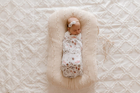 Lunas Treasures - Bamboo Jersey Swaddle Wrap - Wild Meadow - August Lane