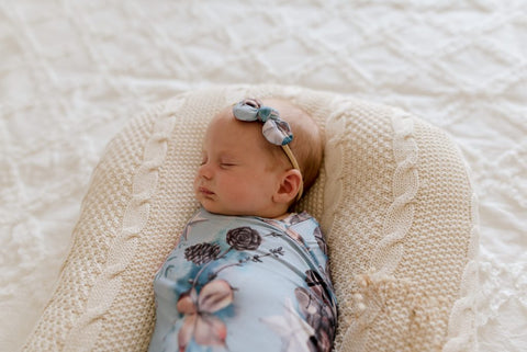 Lunas Treasures - Bamboo Jersey Swaddle Wrap & Bow Set - Aspen - August Lane