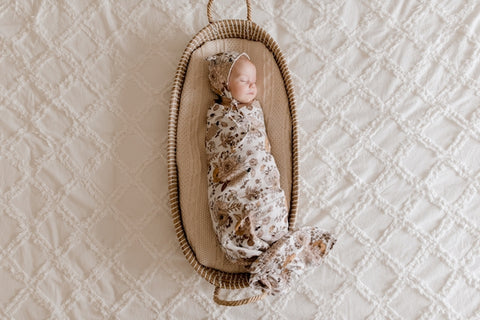 Lunas Treasures - Bamboo Muslin Swaddle Wrap - Goldie Blooms - August Lane
