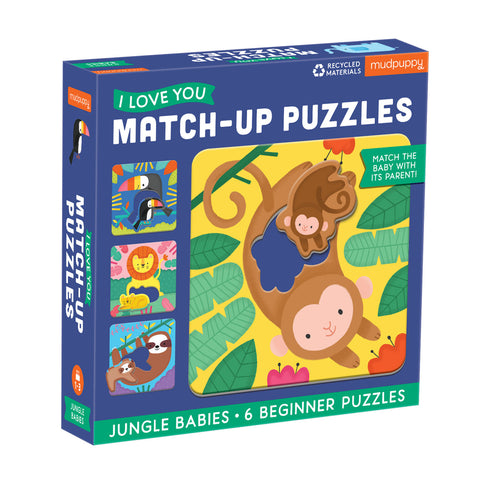 Mud Puppy - I Love You Match Up Puzzle - Jungle Baby - August Lane