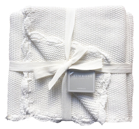 Alimrose  - Mini Moss Stitch Cotton Blanket - Ivory - August Lane