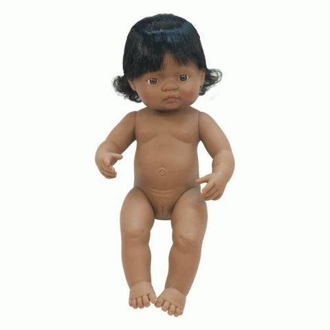 Miniland - Latino Girl Doll (Undressed) - 38cm - August Lane