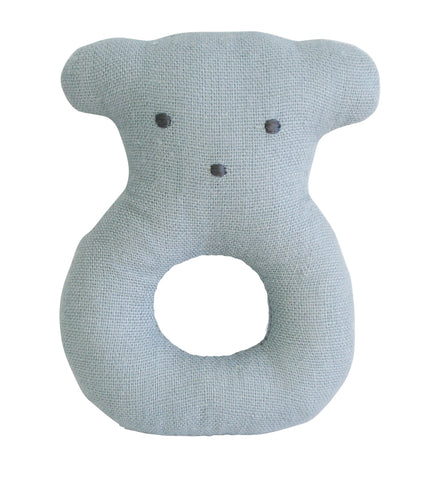 Alimrose - Linen Bear Ring Rattle - Grey - August Lane