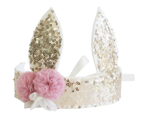 Alimrose - Sequin Bunny Crown - Gold - August Lane