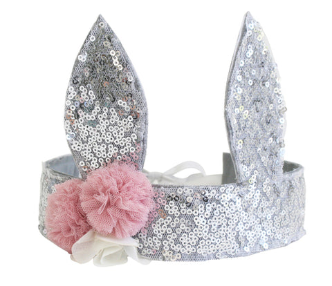 Alimrose - Sequin Bunny Crown - Silver - August Lane