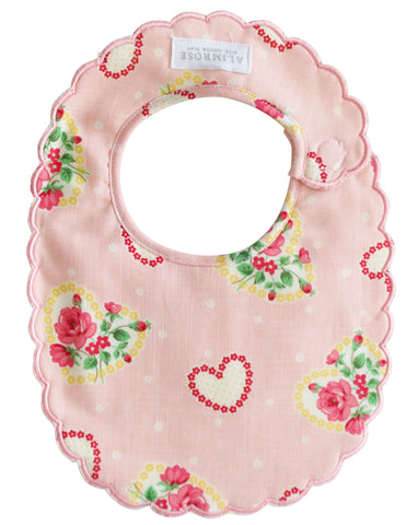 Alimrose - Scalloped Bib - Pink Hearts