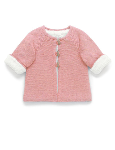Purebaby - Cosy Lined Cardigan - Crab Apple Pink Melange - August Lane