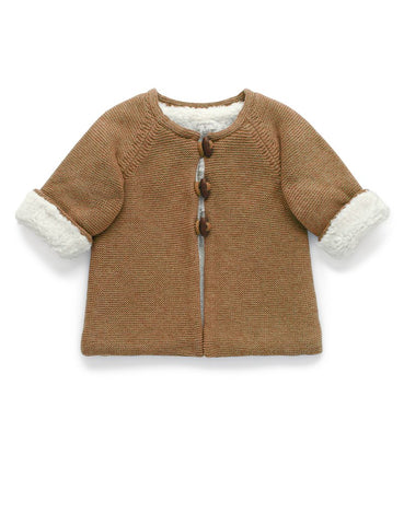 Purebaby - Cosy Lined Cardigan - Maple Melange - August Lane