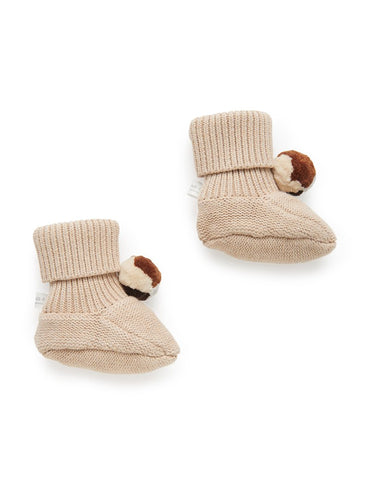 Purebaby - Pom Pom Booties - Camel - August Lane