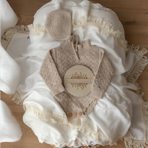 Ziggy Lou - Cream Swaddle With Natural Fringe- Jumbo - August Lane