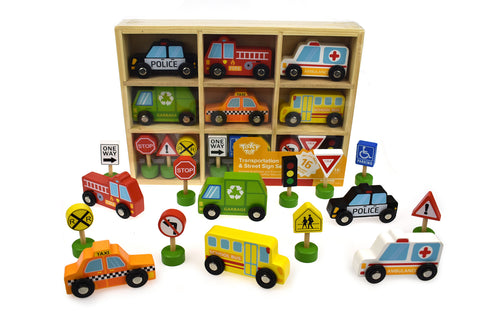 Tooky Toys  - Transportation & Street Sign Set - August Lane