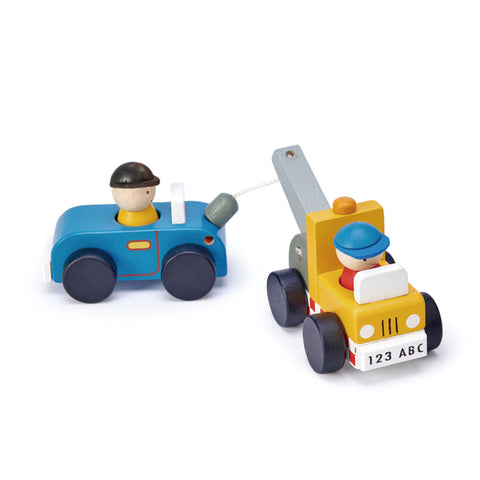 Tender Leaf Toys- Tow Truck Towing A Car - August Lane