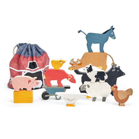 Tender Leaf Toys - Stacking Farmyard animals with Bag - August Lane