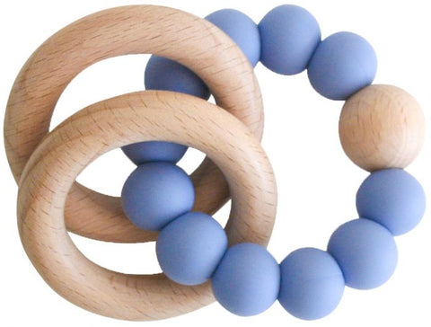 Alimrose - Beechwood Teether Rings Set - Blue - August Lane
