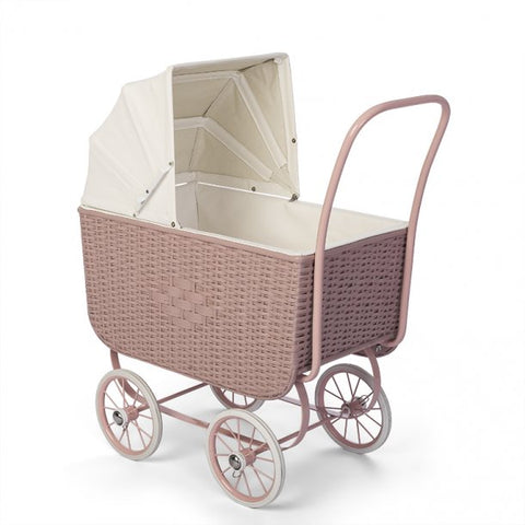 Astrup - Retro Rattan Doll Pram - Rose - August Lane