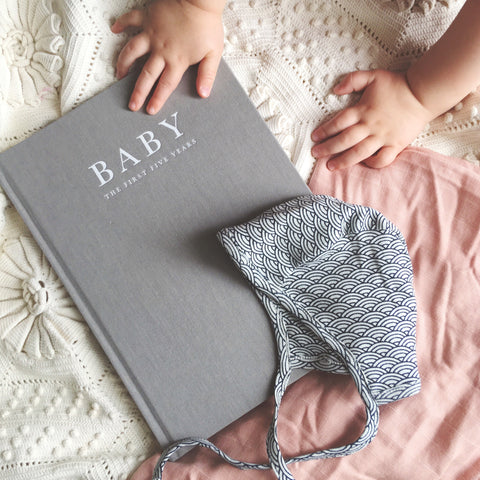 Write To Me - Baby Book/ Journal  Grey - Birth to Five Years - August Lane