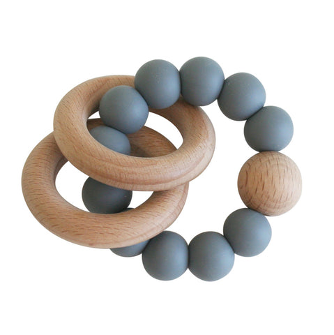 Alimrose - Beechwood Teether Ring Sets - Storm Grey - August Lane