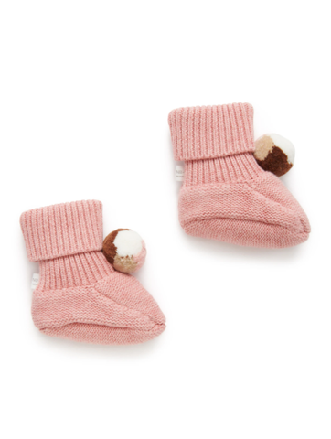 Purebaby - Pom Pom Booties - Crab Apple Pink - August Lane