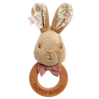 Peter Rabbit - Wooden Ring Rattle - Flopsy Bunny - August Lane