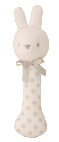 Alimrose - Coco Bunny Stick Rattle - White & Grey - August Lane