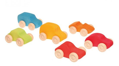 Grimm's - Wooden Coloured Car set (6 piece)