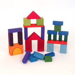 Grimm's - Traditional Coloured Wooden Blocks - 30 Pieces