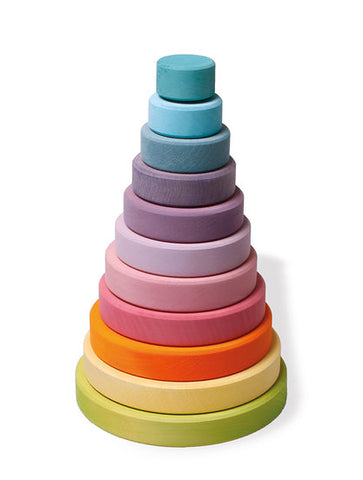 Grimm's - Wooden Stacking Tower Pastel