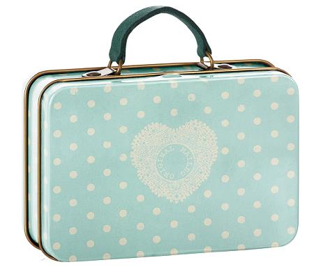 Maileg - Metal Suitcase - Cream Mint Dots - August Lane