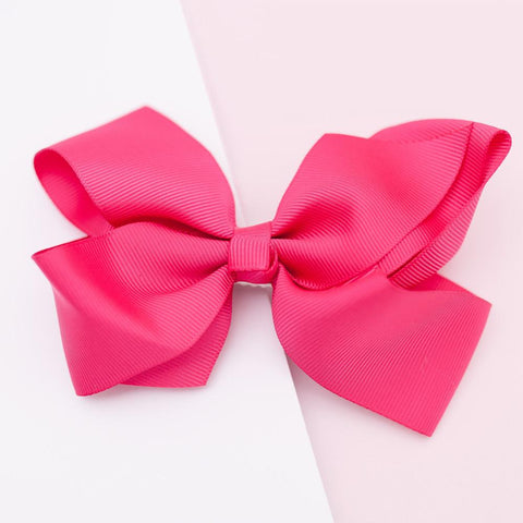 Lauren Hinkley - Large Grosgrain Hot Pink Bow Hair Clip - August Lane