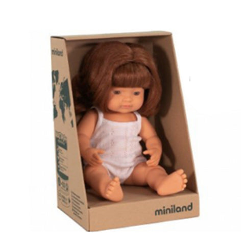 Miniland - Caucasian Red Head Girl Doll - 38cm - August Lane