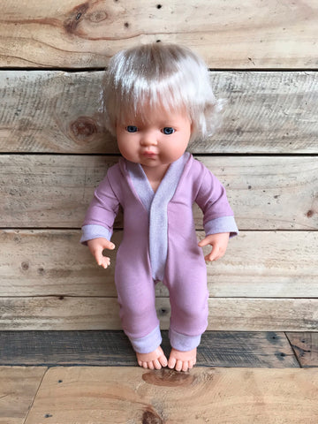 Doll Somnsuit - Dusty Rose with Glitter Trim - 34cm or 38cm (Miniland or Minikane) - August Lane