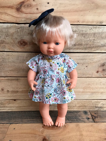 Doll Dress - Pastel Floral - 34-38cm (Miniland / Minikane) - August Lane