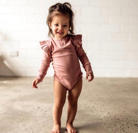 Snuggle Hunny - Rose Long Sleeve Bodysuit - August Lane