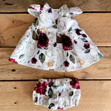 My Dolly & Friends - Doll Dress & Bloomer Set - Christmas Floral - 38cm Miniland etc - August Lane