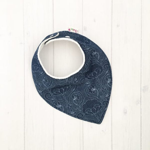 Grubbee Kids - Floral Denim Dribble Bib - August Lane