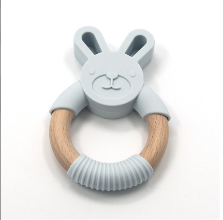 Silimama - Hop Bunny Teether - Light Grey - August Lane