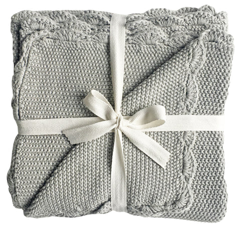 Alimrose -  Mini Moss Stitch Cotton Blanket - Grey - August Lane